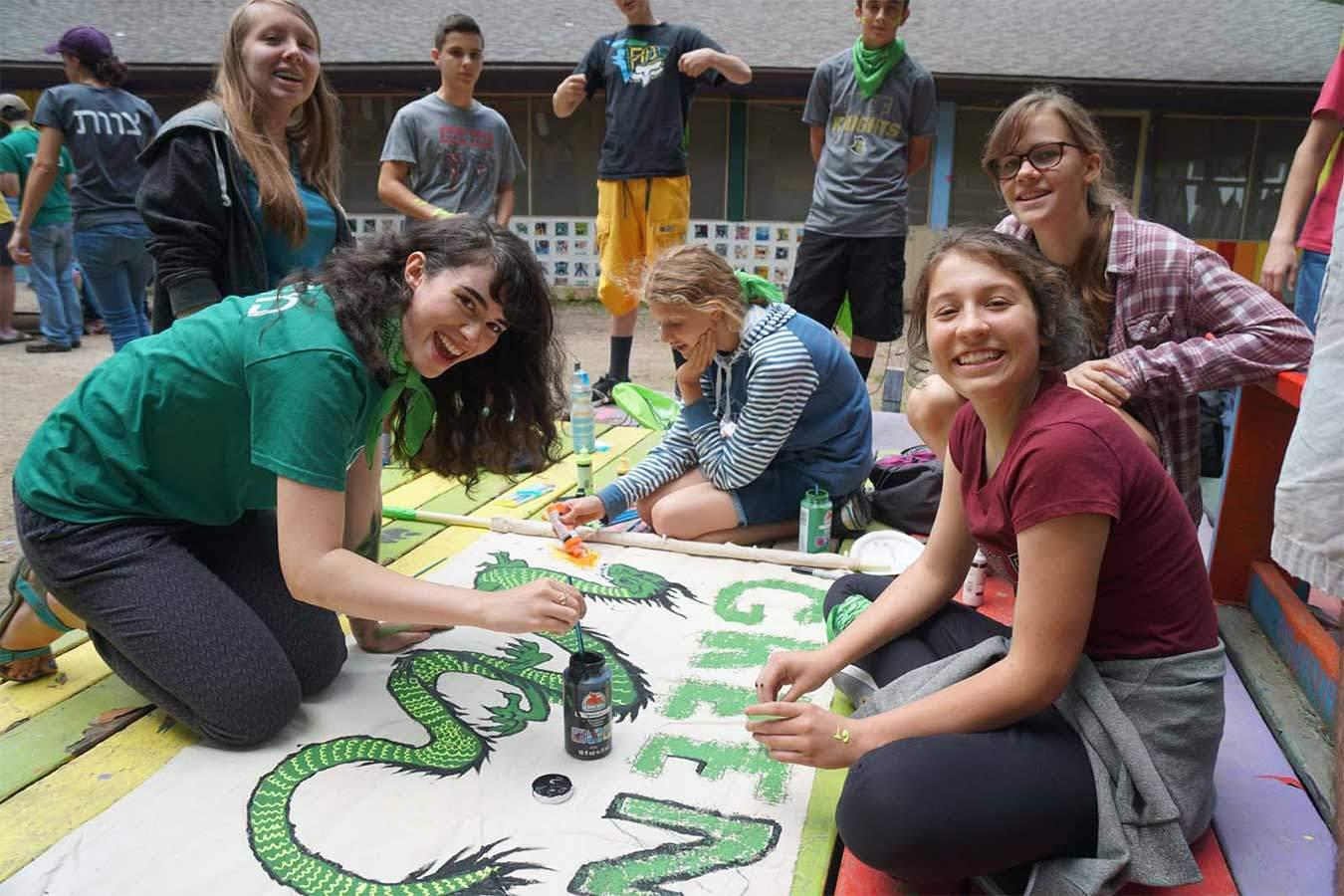 12-21 youth at Camp Tzadi creating team posters