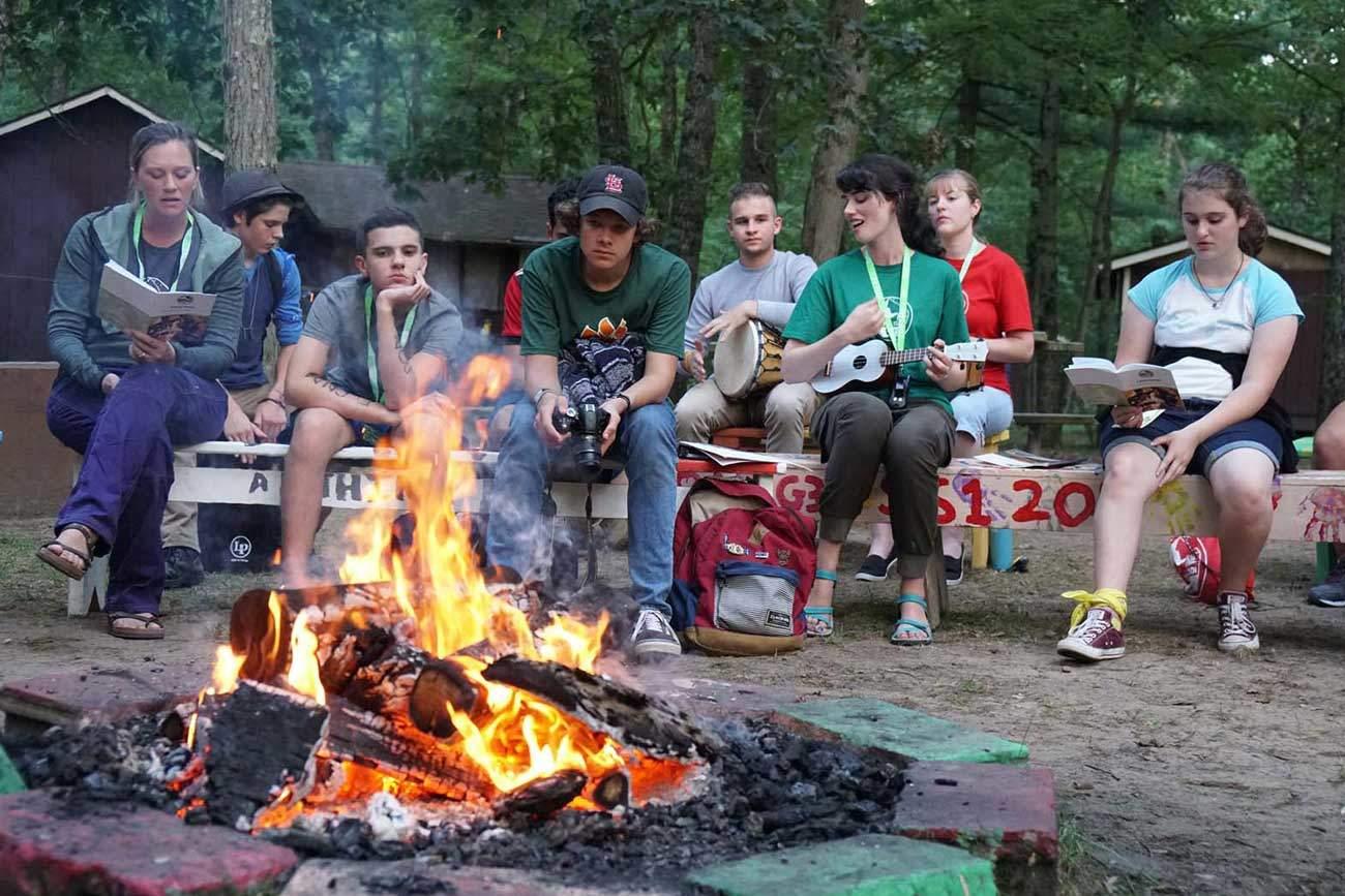Enjoying music around the camp fire.