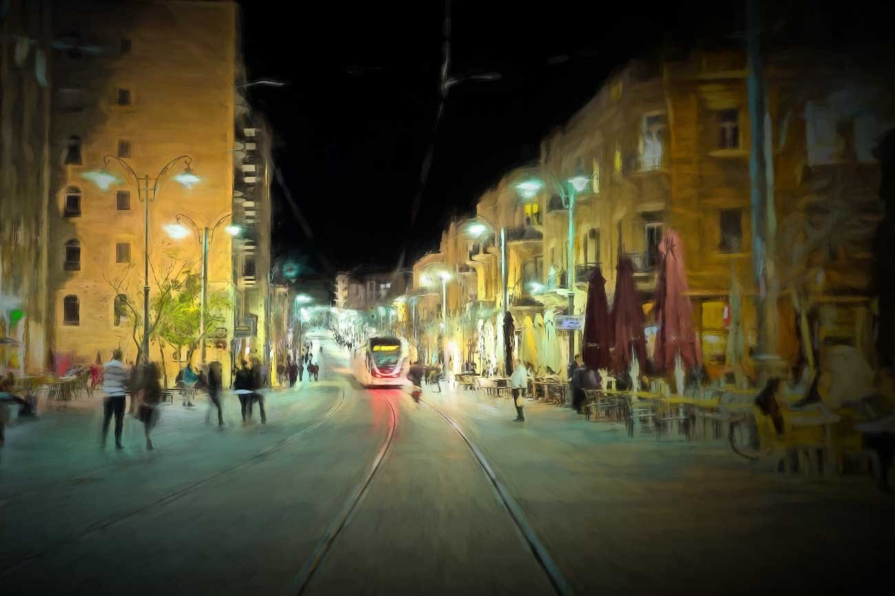 Our artistic impression of Jaffa street in Jerusalem