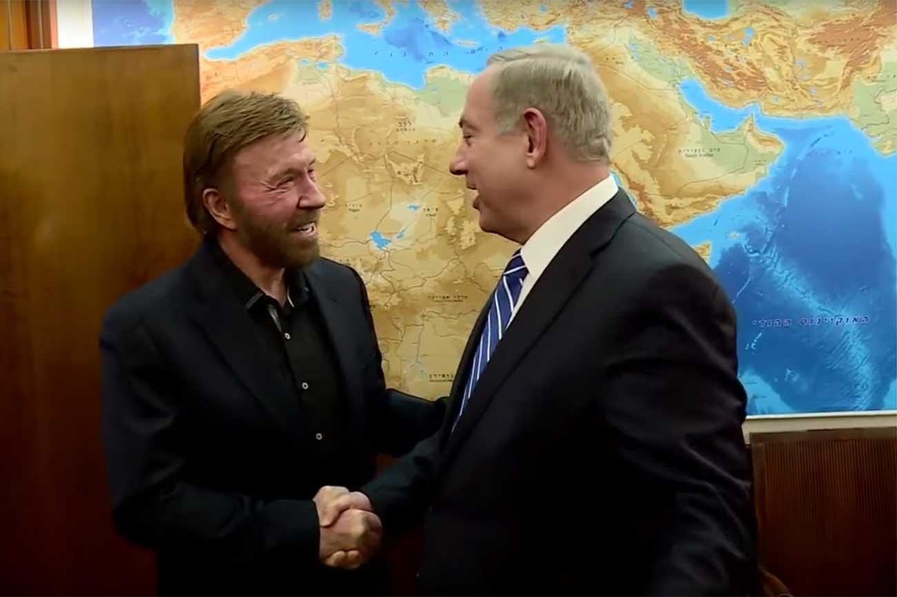 Chuck Norris meets Prime Minister Benyamin Netanyahu in Israel.